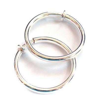 CLIP-ON EARRINGS PLATED SILVER HOOP EARRINGS 1 INCH HOOPS HYPO-ALLERGENIC HOOPS