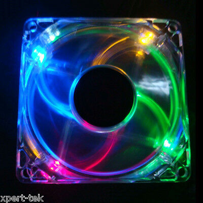 Blue 80mm 4-LED Quad Light Neon PC Computer Case Clear Cooling Fan Mod x2
