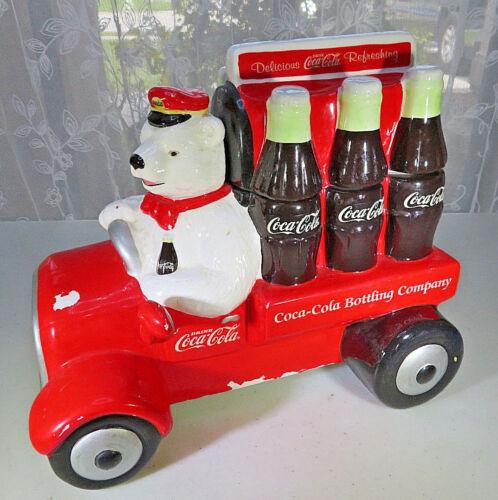Vintage 1999 Coca Cola Bear Delivering Refreshment Truck Cookie Jar