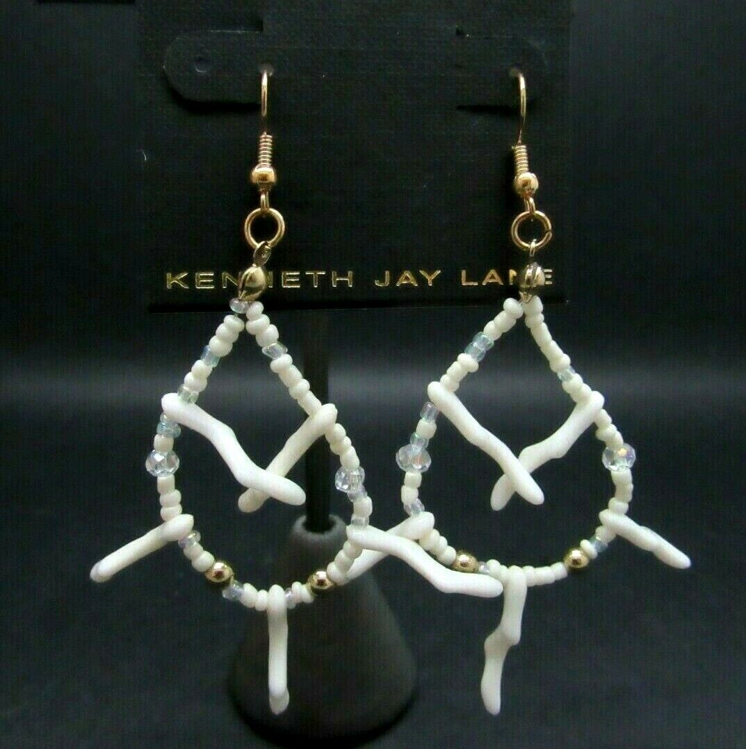 KENNETH J LANE SEED BEAD CRYSTAL CORAL BRANCH ARTICULATED EARRINGS NEW ON CARD - $13.99