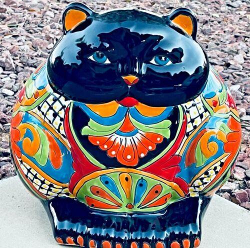"Mexican Talavera Planter Animal Fat Cat Pot Folk Art Pottery Large 15"""
