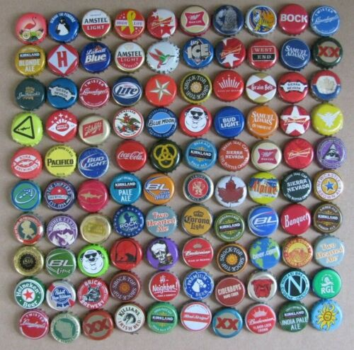 100 MIXED DIFFERENT WORLDWIDE COLORFUL BEER/SODA BOTTLE CAPS LOT #1