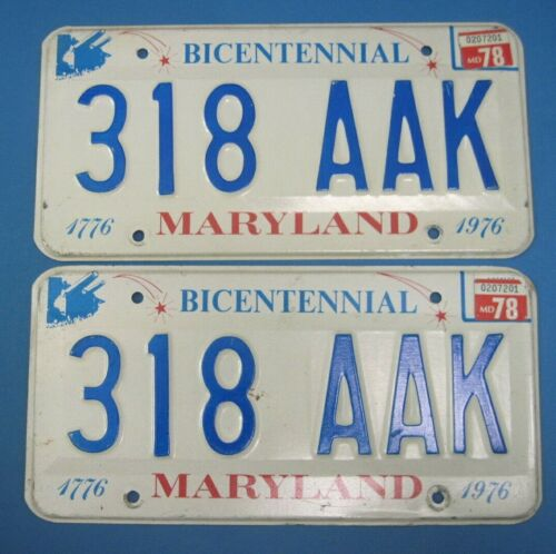 1978 Maryland Bicentennial License Plates matched pair nice
