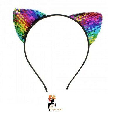 RAINBOW  Headband SEQUIN CAT EARS Animal Pony Cat Ears Pride LGBT Fancy Dress