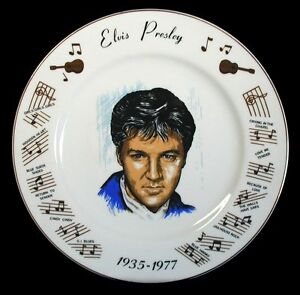 Vintage-ELVIS-PRESLEY-1935-1977-Collectible-Memorial-Plate-HIT-SONGS-Japan