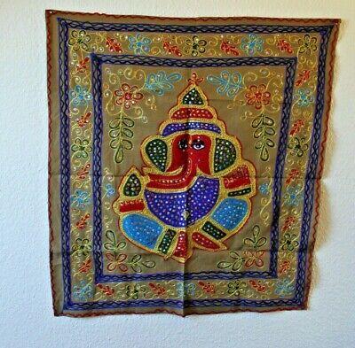 Wall Hanging Tablecloth Decoration Khaki Ganesha 74 X 82 CM Handarbeit-Indien