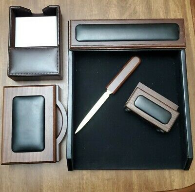 Dacasso Deluxe Walnut And Black Leather Desk Set Office Organizer 5-piece