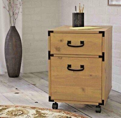 Wood Filing Cabinet 2 Drawer Vertical Wheels Mobile Pedestal Metal Accents