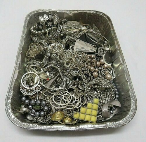 5 lbs Vintage Pre-Owned Silver Tone Metal Costume Jewelry Lot Resell Wear Craft