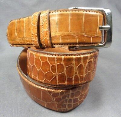 43d22e16d2a2 Genuine Cognac Alligator-Crocodile skin Waist 31-32 Belt Size 33-34 x 1.5