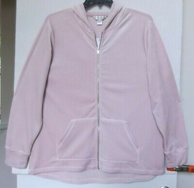 - CJ Banks Pink velour jacket, hooded, zip front, long sleeve Sizes 1X, 2X, 3X NWT