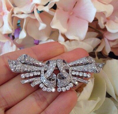 Estate Art Deco Platinum Diamond Pin/Brooch Dress Clips-  HM1352