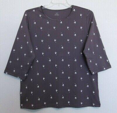CJ Banks Ditsy print knit top, Soft Plum Purple, 3/4 sleeve Sizes 1X, 2X, 3X NWT 3/4 Sleeve Knit Top