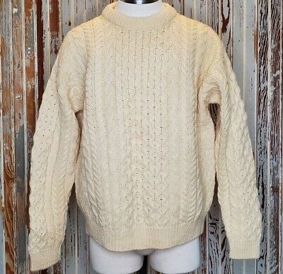 Vtg John Molloy Irish Wool Crew Neck Sweater Medium Chunky Cable Knit Ireland