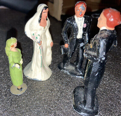 Antique Toy Train Xmas Lead Metal Figure Set Groom Minister & Bride Wedding Girl