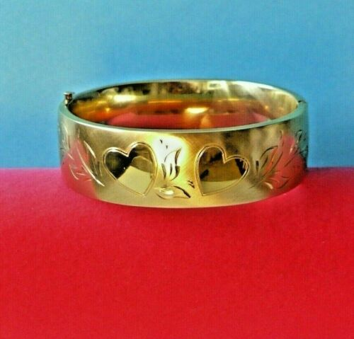 ❤❤ INCREDIBLE Vtg Antique HEARTS Gold Filled THICK Wide BRACELET Unused !!! ❤❤