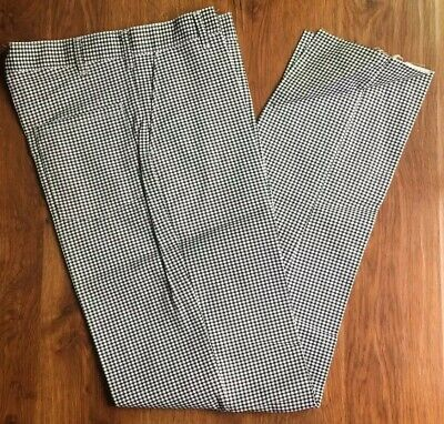 Houndstooth Checkered Black White Chef Pants Un-hemmed