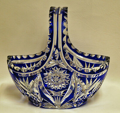 HEAVY Vintage CZECH BOHEMIAN Art Glass COBALT BLUE Cut to Clear Handled Basket