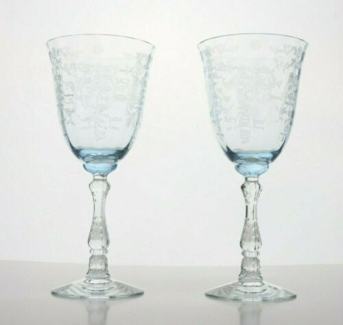 Pair (2) Fostoria Navarre Blue Etched Water Goblets Signed
