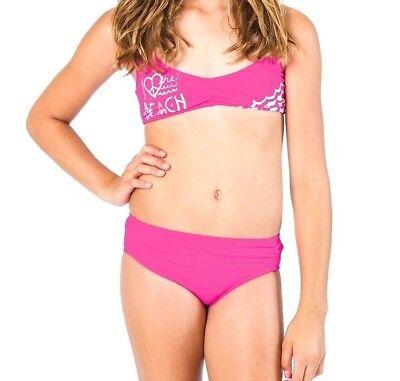 Billabong Logo Racerback Mädchen Jugend Verstellbar Top Bikini Satz 10 Magenta