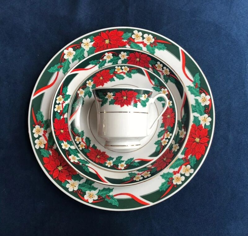 4 pc setting TIENSHAN Fine China Deck the Halls Christmas China