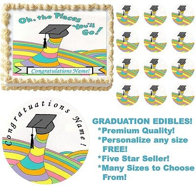 Graduation Oh The Places You'll Go Edible Cake Topper Image Cake Decoration NEW - Oh The Places You Ll Go Decorations