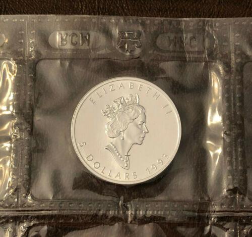 1993 Canada $5 Silver Maple Leaf 1 oz,  .9999 Fine Silver in Sealed Plastic BU