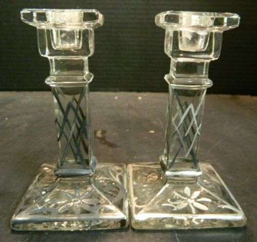 Vintage Pair of Square Based Art Deco Sterling Silver Overlay Glass Candlesticks