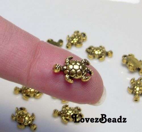 16 Gold Metal Spacer Beads-Adorable Tiny Turtles-12x8mm-$30 Orders Ship for FREE