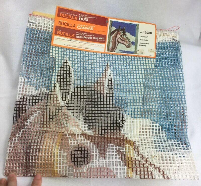 """Latch Hook Rug 20X27 Bucilla """"Stallion"""" Canvas Only Horse  # 12020 Vintage"""