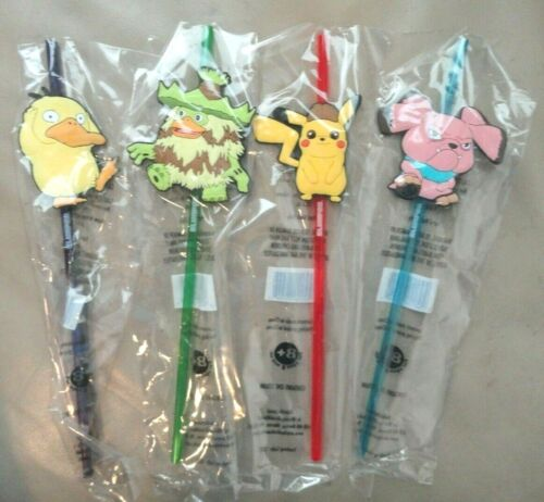 NEW- Set of 4 Detective Pikachu Pokemon 7-11 Collectible Slurpee Straws Psyduck