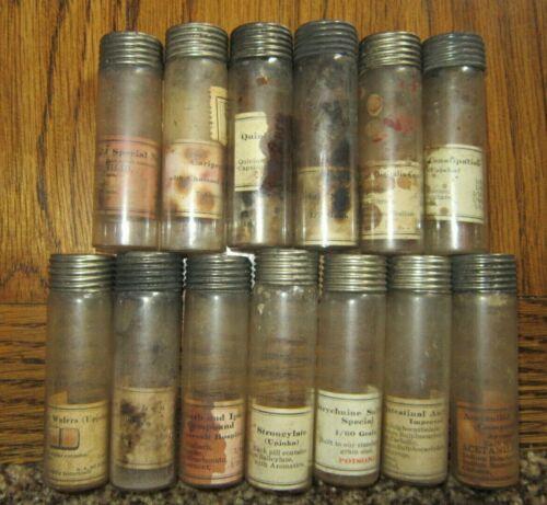 13 vials from Upjohn Traveling Doctor Medicine Kit ~ Apothecary Pharmacy Bottle