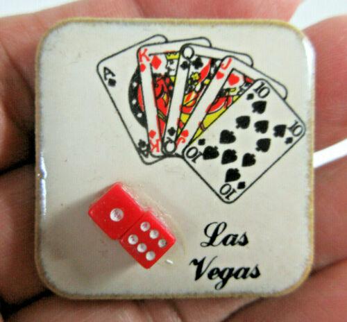 vintage Las Vegas Nevada ceramic tile souvenir fridge magnet playing cards dice