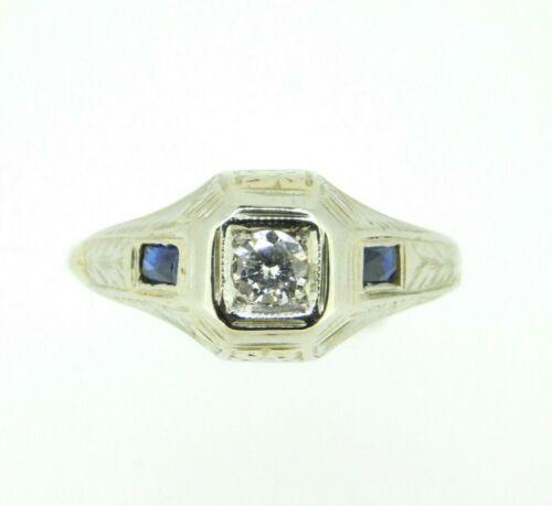 18k White Gold Diamond and Sapphire Men