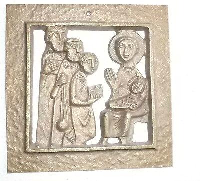Bronzerelief, EGINO WEINERT, Anbetung der Könige, ca 10x10cm, Plaque, Bronze