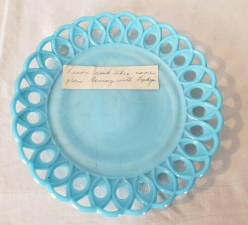 Blue Milk Glass Plate Lace Edge Antique Estate Piece Germany Opaque Decor