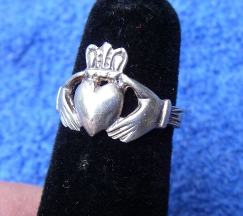 EARLY Silver Irish CLADDAGH RING-Size 6-Hand Made-Unmarked