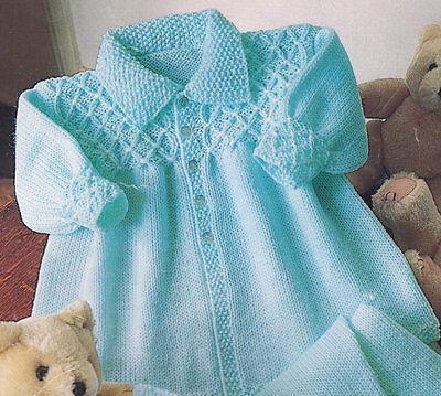 "Baby Smocked Effect Collar Jacket 16""- 22"" Mitts/Leggings 4 Ply Knitting Pattern"