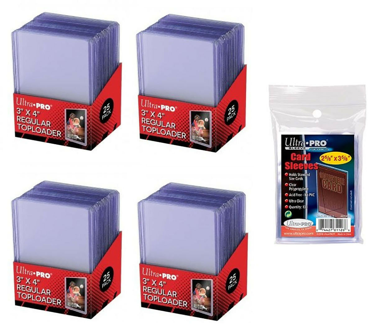 c3442575f31 100 ULTRA PRO 3x4 Sports Card Toploaders + FREE SLEEVES FREE SHIPPING