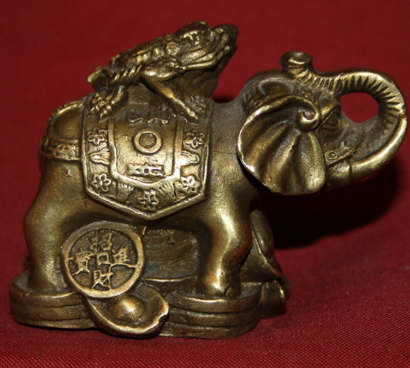 Vintage hand made Chinese Spittor Frog on Yuanbao Elephant Lucky brass statuette