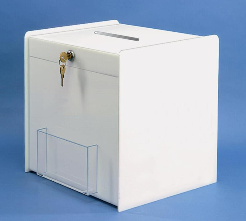 "Lot of 24 White Acrylic 12"" x 12"" Ballot Box w/ Clear Pocket and Security Lock"