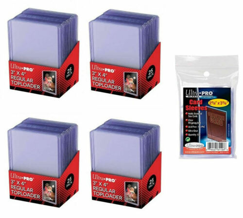 """100 BRAND NEW ULTRA-PRO 3"""" x 4"""" REGULAR CARD TOP LOADERS + 100 SOFT SLEEVES 35PT"""