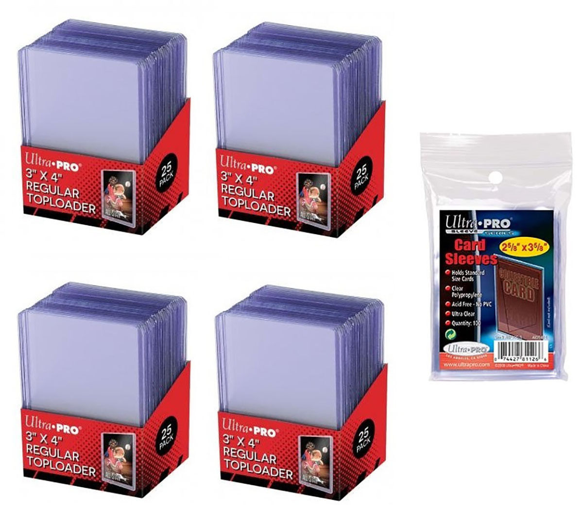 100 Ultra Pro Regular 3 x 4 Toploaders New top loaders + 100 soft sleeves