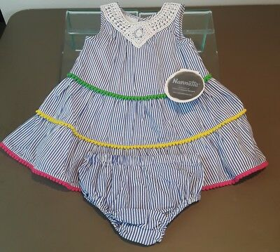 Nannette NWT Baby Girl 6-9 Month Blue/White Striped Dress with Trim *