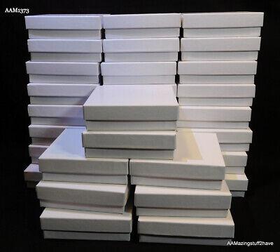 Jewelry Box 3 X 3 X1 Card Stock Gift Box White W Polyfiber Insert Qty 32