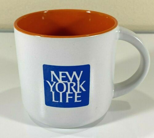 New York Life Insurance Ceramic Coffee Tea Mug Promo White Blue Logo Orange