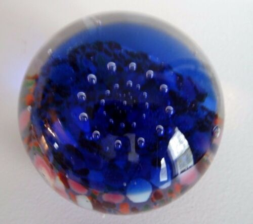 Signed Vintage Elizabeth Degenhart Glass Controlled Bubble & FRIT PAPERWEIGHT