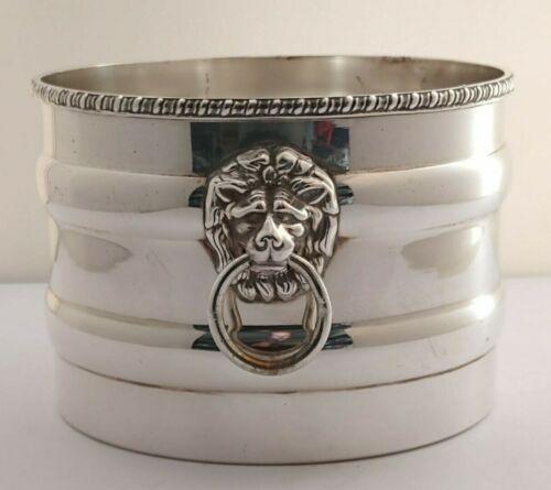 Vintage Silver Plated Champagne Coaster Or Planter - Lion Mask Handles
