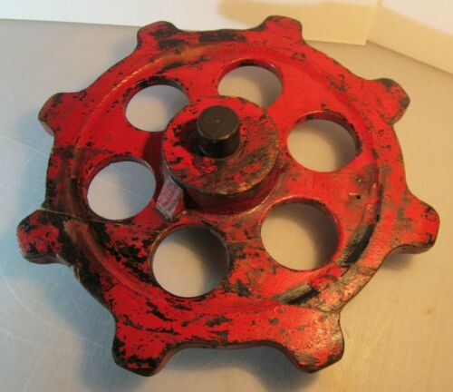 Vintage STEAMPUNK Wooden Industrial Foundry Mold Casting - Large Red Gear