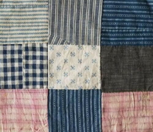Antique Quilt Block Indigo Blue Pink Early Home Spun Fabrics Hand Pieced Scraps